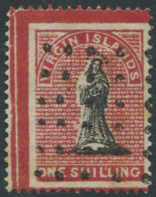 1867 Virgin Islands 1/- with crimson frames. A litho forgery.