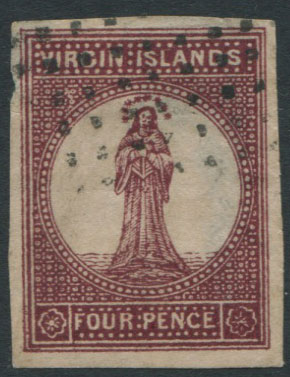 1867-70 Virgin Islands 4d lake red. A litho forgery.