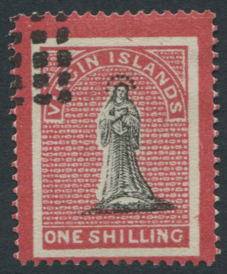 1867-70 Virgin Islands 1/- with crimson frames superimposed extending into margins (SG18),