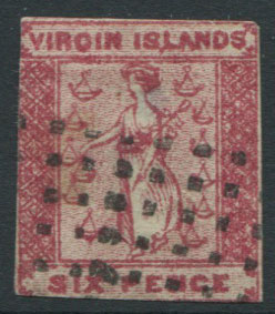 1867-70 Virgin Islands 6d rose crude litho forgery