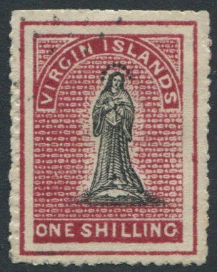 1867-70 Virgin Islands 1/- with double line frame
