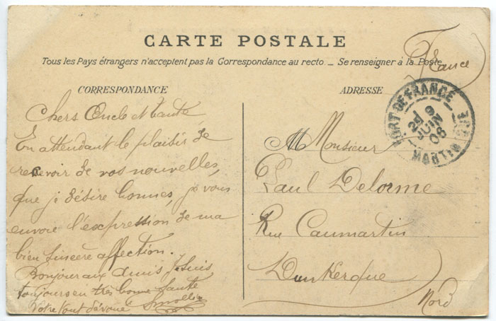 1906 CARBET MARTINIQUE cds in blue on postcard to France.