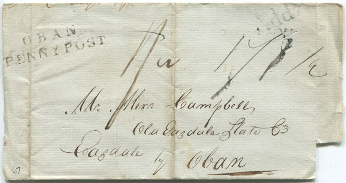 1832 (19 Sep) GLASGOW Add! ½ in blue