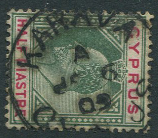 1902-4 Cyprus ½pi with good s/ways KARAVA A SP 9 09 cds