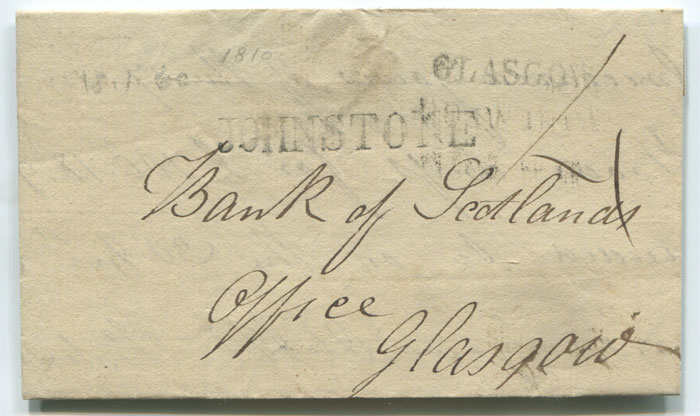 1810 straight line JOHNSTONE on cover to Glasgow.