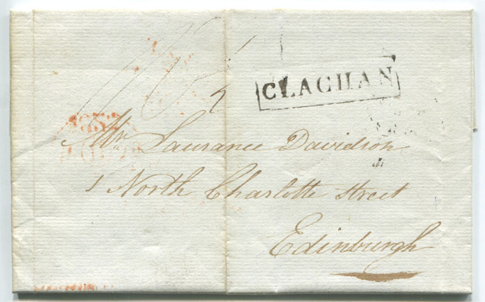 1823 (4 Feb) boxed CLACHAN on EL to Edinburgh