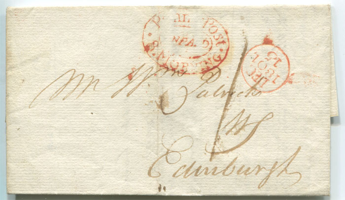 1801 (15 Dec) Penny Post 8 Morning Unpaid oval h/s in red on local Edinburgh cover.