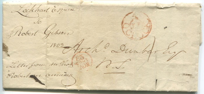 1803 (29 Nov) EL with Edinburgh Penny Post circular 4/PP/O.CLOCK h/s in red.