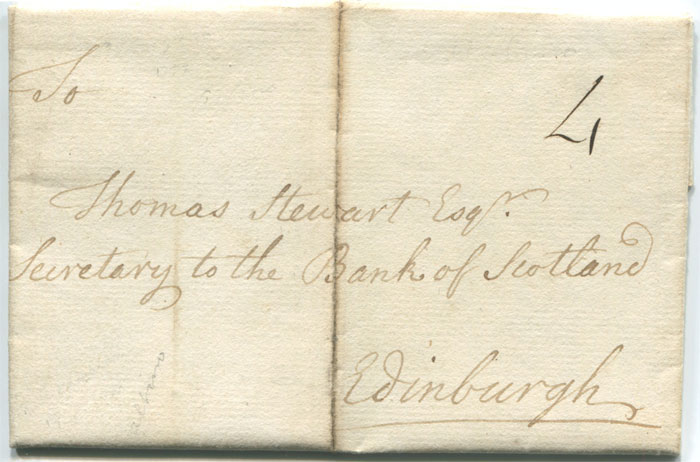 1772 (19 Aug) EL to Thomas Stewart, Secretary to the Bank of Scotland, Edinburgh