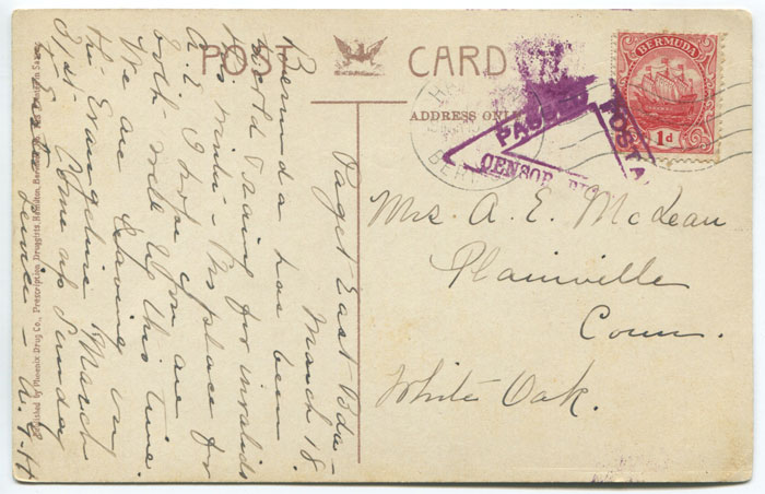 1918 (9 MAR) Bermuda postcard used to U.S.A. with triangular