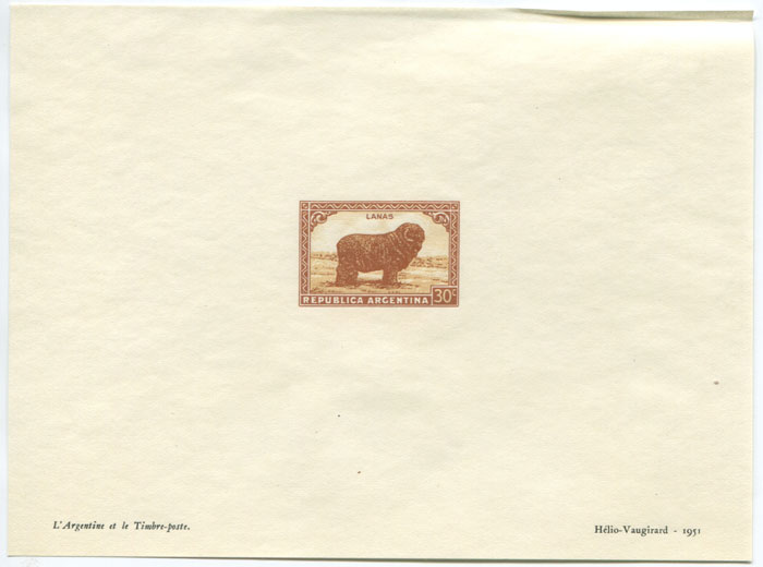 1951 Argentina Helio-Vaugirard Proof of the 1935-51 30c Merino Sheep