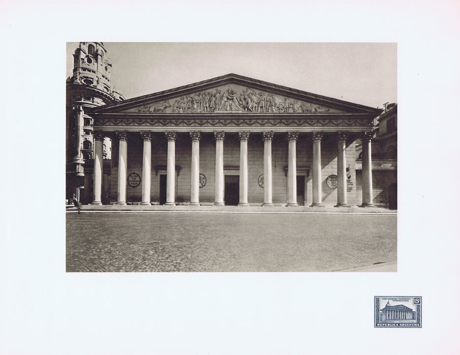 1951 Argentina Helio-Vaugirard Proof of the 1934 15c Buenos Aires Cathedral on corner of photo print of the building.