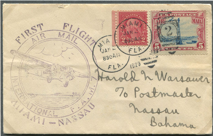 1929 (2 Jan) First Flight cover Miami - Nassau, Bahamas, per Pan Am.