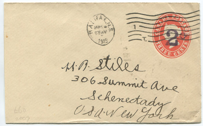 1915 R.M.S.P. publicity label on reverse of Canadian postal stationery envelope