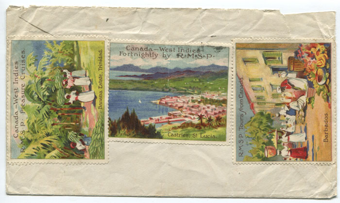1914 R.M.S.P. publicity labels on reverse of Canadian cover to Germany.