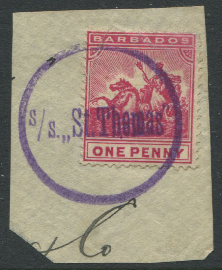 1892-1903 Barbados 1d carmine on piece tied by fine circular