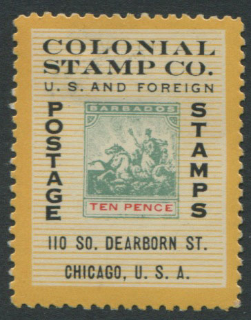 1892-1903 Barbados 10d stamp design used on advertising label
