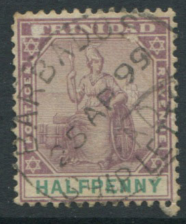 1899 Trinidad ½d cancelled by fine oval