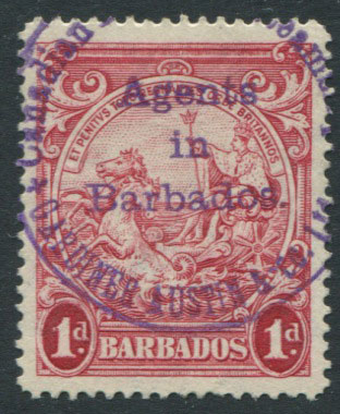 1938-47 Barbados 1d cancelled by