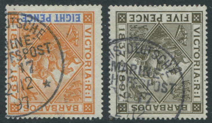 1897-8 Barbados 5d (SG120) and 8d (SG122) cancelled by