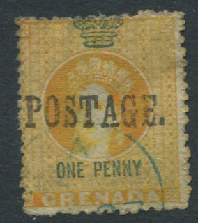 1883 Grenada 1d revenue stamp ovptd.
