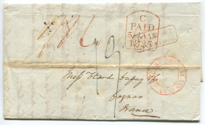 1835 (3 Jan) boxed PAID AT LIVERPOOL in red on EL to France.