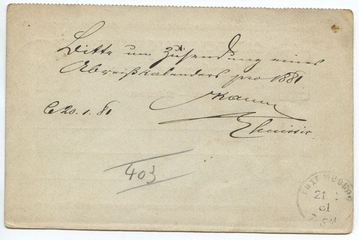 1875 Luxemburg postal stationery 5c postal reply card used in 1881