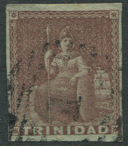 1851-5 Trinidad blued paper 1d purple-brown (SG2)