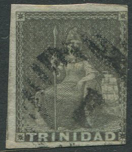 1851-5 Trinidad blued paper 1d grey (SG5)