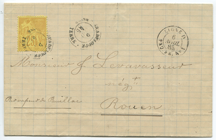 1885 (6 Apr) Guadeloupe cover to France with 25c tied by BASSE TERRE cds.
