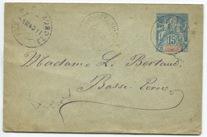 1892 Guadeloupe 15c postal stationery envelope, (size 116 x 76mm) used in 1896 with Saint Francois cds.