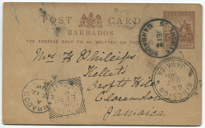 1898 CROFTS HILL JAMAICA squared circle ds on Barbados postal stationery card
