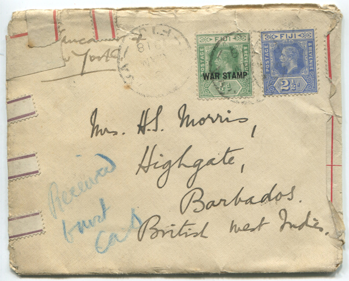 1918 (6 Jan) wreck cover sent from Fiji to Barbados