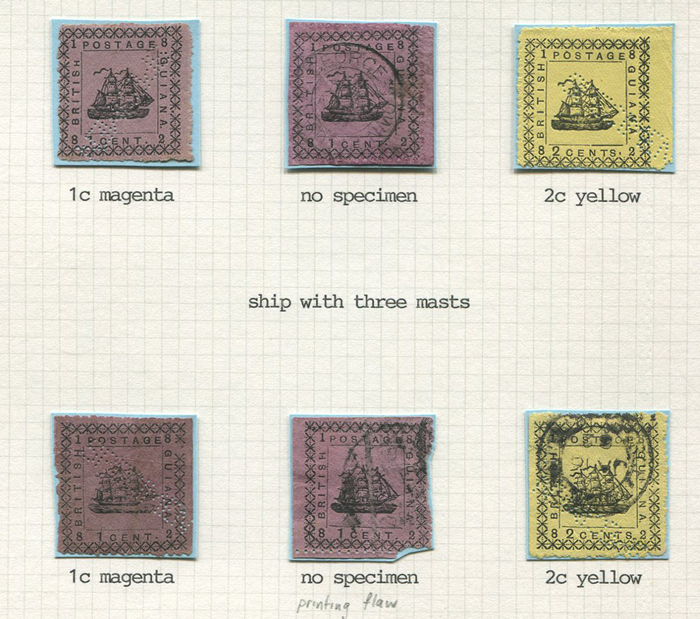 1882 British Guiana Provisional issue, a study written up on leaves.
