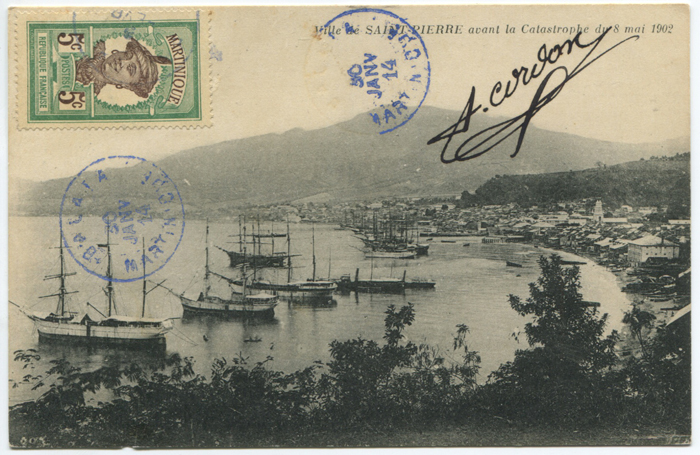 1914 BALATA MARTINIQUE cds in blue on picture postcard to Italy.
