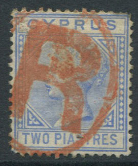 1882-6 Cyrprus 2pi with fine red