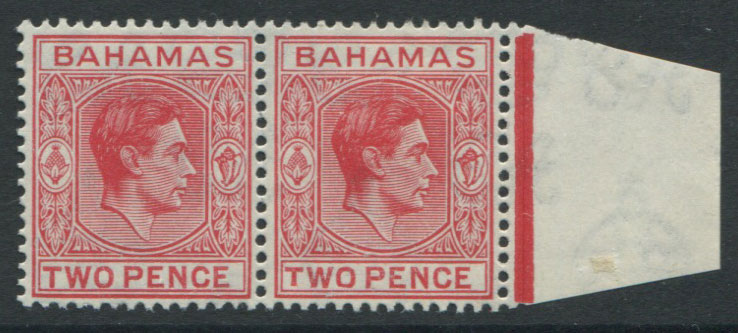1938-52 Bahamas 2d scarlet marginal pair, one with short