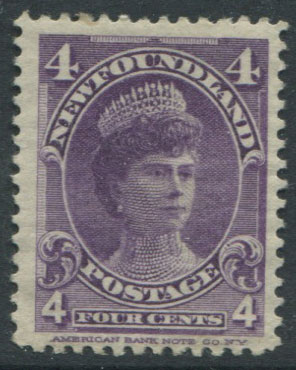 1897-1918 Newfoundland 4c violet (SG89), Queen Mary when Duchess of York, fine o.g.
