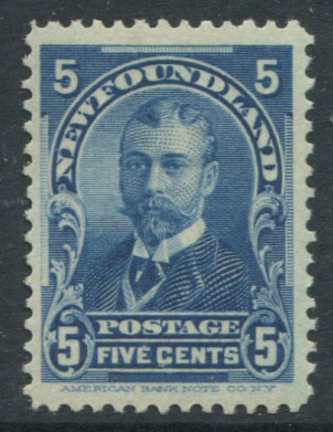 1897-1918 Newfoundland 5c blue (SG90), King George V when Duke of York, fine o.g.