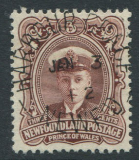 1911-16 Newfoundland Coronation 3c red brown (SG119), Duke of Windsor when Prince of Wales