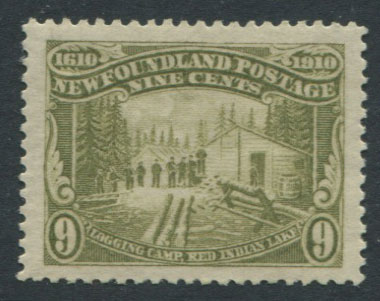 1911 Newfoundland perf 14, 9c sage green (SG113) Logging Camp, Red Indian Lake