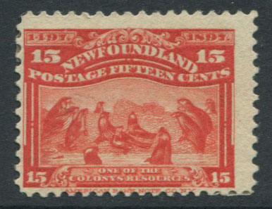 1897 Newfoundland 400th Anniversay of Discovery, 15c bright scarlet (SG75), Group of grey seals