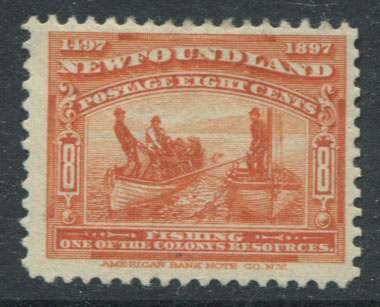1897 Newfoundland 400th Anniversay of Discovery, 8c orange (SG72)