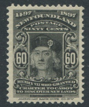1897 Newfoundland 400th Anniversay of Discovery, 60c black (SG79), m.m., hinge rems.