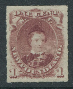 1876-9 Newfoundland rouletted, 1c lake purple (SG40), King Edward VII when Prince of Wales