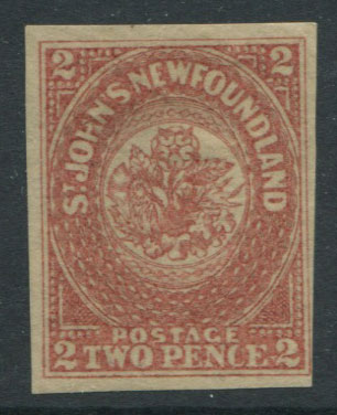 1861-4 Newfoundland hand-made paper without mesh, 2d rose-lake (SG17)