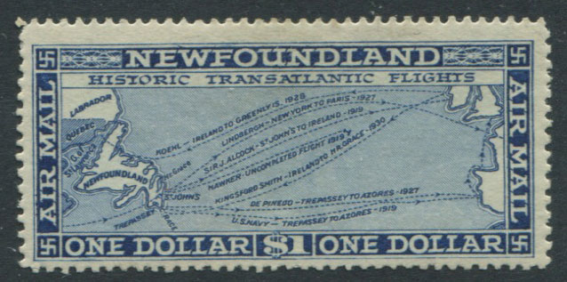 1931 Newfoundland no wmk, Air $1 deep blue (SG194)