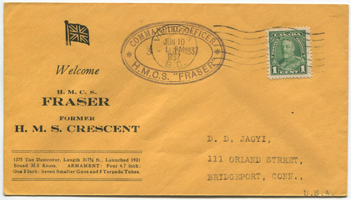 1937 COMMANDING OFFICER H.M.C.S. FRASER oval cachet on souvenir cover from Canada to U.S.A.