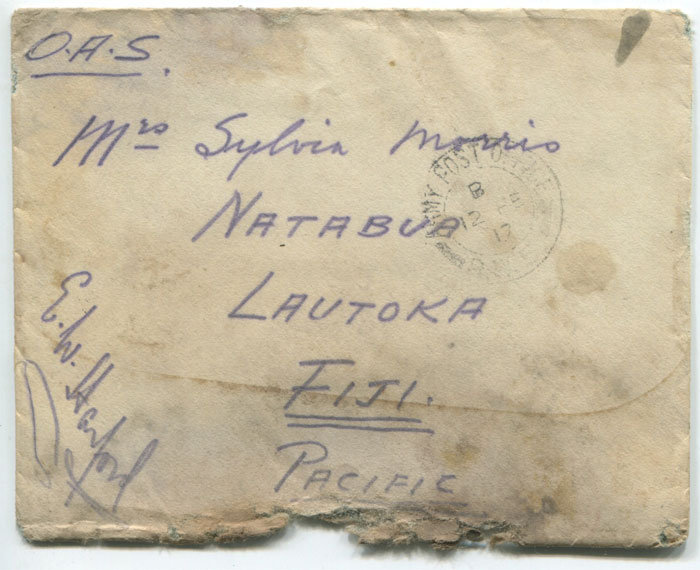 1917 (12 Feb) O.A.S. cover to Natabua, Fiji