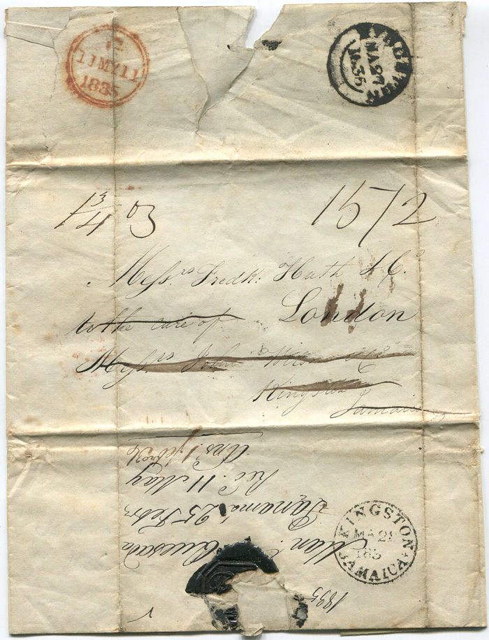 1835 (25 Feb) EL from Panama to Fred. Huth, London with KINGSTON JAMAICA date stamps (K3) and (K4)